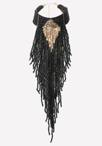 Bebe Bead Fringe Choker Necklace