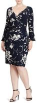 Lauren Ralph Lauren Plus Size Women's Floral Bell Sleeve Jersey Dress