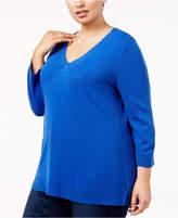 Karen Scott Plus Size Luxsoft V-Neck Sweater, Created for Macy's