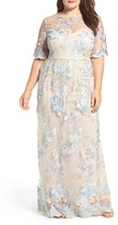 Adrianna Papell Plus Size Women's Illusion Lace Gown