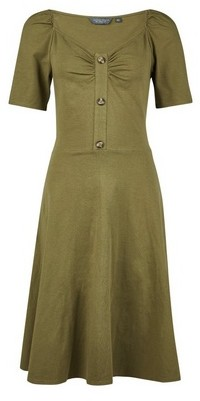 Dorothy Perkins Womens Tall Khaki Horn Effect Button Dress, Khaki