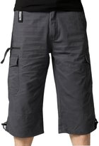 SiYang Man Cargo Shorts for Men Elastic Waist Multi-Pocket Outdoor Wear(Belt Included)(,XXXL)
