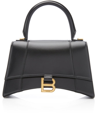 Balenciaga Hourglass Embellished Textured-Leather Top Handle Bag