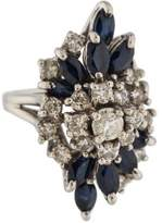 Ring 14K Diamond & Sapphire Cluster Cocktail
