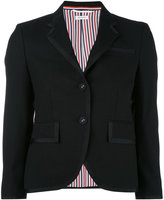 Thom Browne Single Breasted Tuxedo Jacket With Grosgrain Tipping In Black 2-Ply Wool Fresco