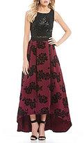 Jodi Kristopher Floral Flocked Skirt Two-Piece High-Low Dress