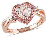 Concerto 0.01 TCW Diamond, Morganite and Pink Tourmaline Sterling Silver Ring