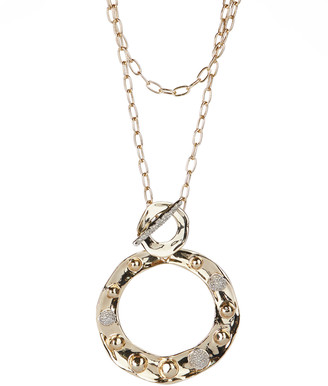 Alexis Bittar Pave Studded Long Circle Pendant Necklace