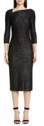 St. John Statement Sequin Knit Midi Dress