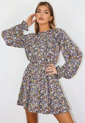 Missguided Purple Floral Print Ruffle Smock Dress