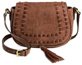 Merona Women's Faux Leather Saddle Handbag Dark Brown