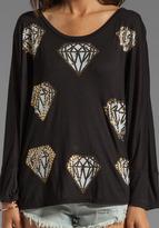 Lauren Moshi Angel Mini Diamonds Oversized Cape Tee