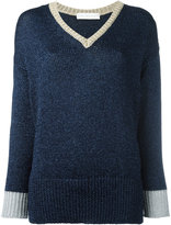 Giada Benincasa - contrast v-neck sweater - women - Polyester/Viscose - XS