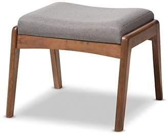 Baxton Studio Elyse Walnut Wood Fabric Upholstered Footstool