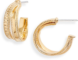 Anna Beck Two-Tone Crossover Hoop Earrings