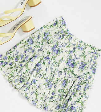 Miss Selfridge Petite shirred mini skirt in floral print