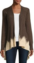 Neiman Marcus Dip-Dyed Open-Front Cardigan, Brown