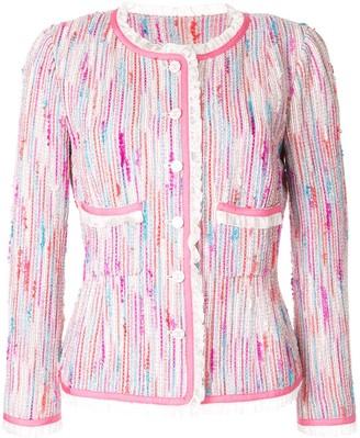 Chanel Pre-Owned ruffle trim tweed jacket