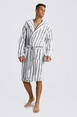 BoohoomanBoohooMAN Mens Grey Stripe Hooded dressing gown, Grey