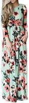 Lettre d'amour Women's Long Sleeve Bohemian Floral Print Beach Maxi Dress M