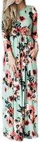 Lettre d'amour Women's Long Sleeve Bohemian Floral Print Beach Maxi Dress S