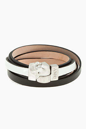 Alexander McQueen Black and white Skull Charm Double Wrap leather bracelet
