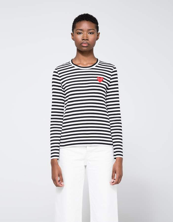 Comme des Garcons Red Heart Play Striped Long Sleeve T-Shirt