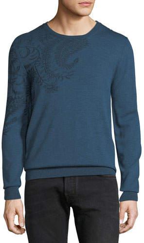 Etro Men's Paisley-Shoulder Crewneck Sweater