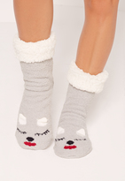 Missguided Sleepy Kitty Slipper Socks Grey