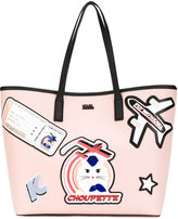 Karl Lagerfeld patches shopping bag - women - Calf Leather/PVC - One Size