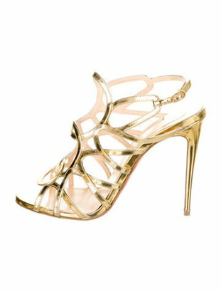 Christian Louboutin Patent Leather Slingback Sandals Gold