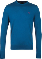 Fred Perry Service Blue Classic Crew Neck Merino Wool Sweater