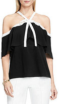 Vince Camuto Off-the-Shoulder Tie Neck Ruffled Blouse