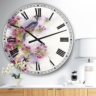 Design Art Designart 'Cherry Blossom Days' Large Cottage Wall Clock