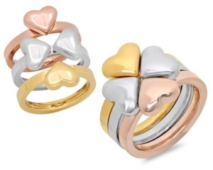 STEELTIME Stainless Steel Tri Color Clover Ring Set, 3 Piece