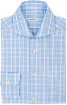 Kiton Men's Plaid Dress Shirt-LIGHT BLUE