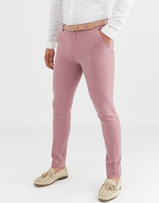 ASOS DESIGN wedding super skinny suit trousers in crosshatch in rose pink
