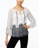 INC International Concepts Petite Lace-Print Peasant Top, Only at Macy's