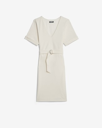 Express Belted V-Neck Shift Dress