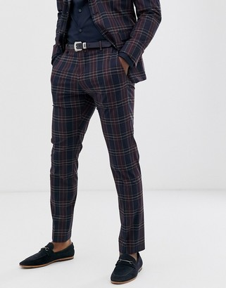 Selected slim fit suit trouser in navy red check