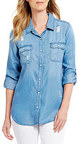 Intro Roll-Tab Sleeve Distressed Detail Button Front Lyocell Denim Shirt