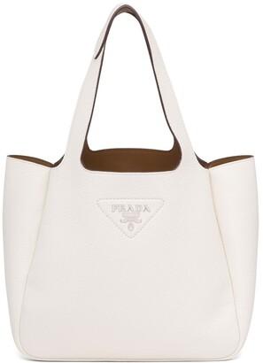 Prada Logo-Plaque Leather Tote Bag