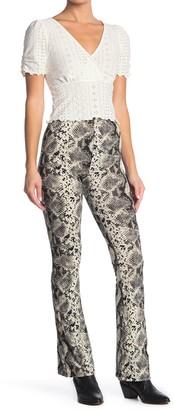 GOOD LUCK GEM High Waist Snakeskin Print Flare Pants