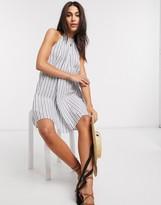 Asos Design DESIGN halter trapeze mini sundress in stripe