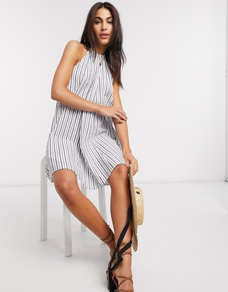 ASOS DESIGN halter trapeze mini sundress in stripe