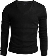 uxcell Allegra K Men V Neck Long Sleeves Solid Color Knit Top M