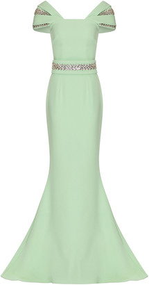 Safiyaa Abigail Crystal-Embellished Stretch-Crepe Gown