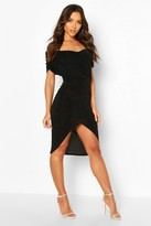 boohoo Textured Slinky Off The Shoulder Wrap Dress