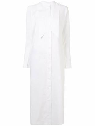 Enfold Long Sleeve Pointed Bib Shirt Dress