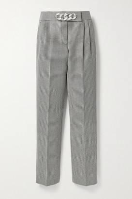 Alexander Wang Chain-embellished Houndstooth Wool-blend Straight-leg Pants - Black